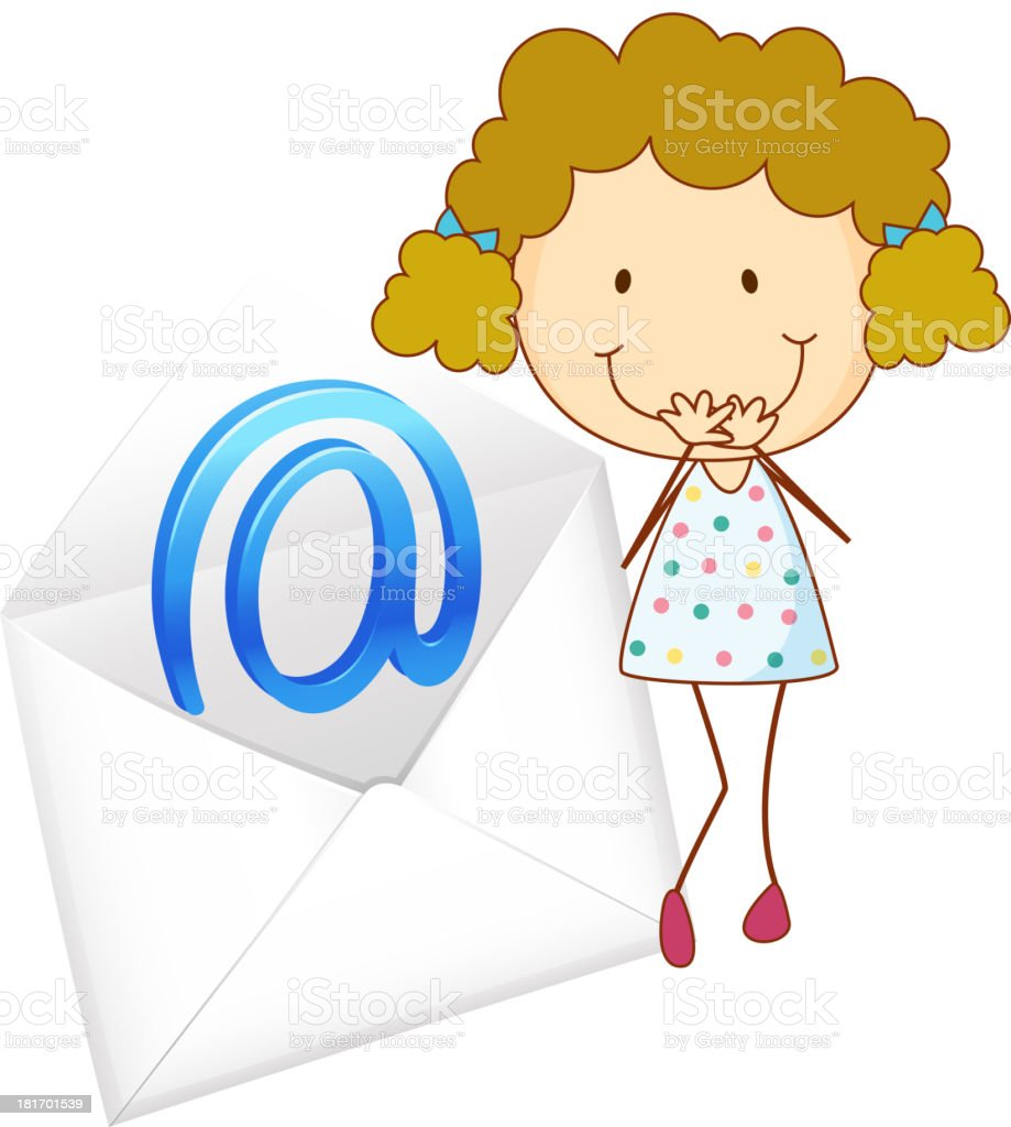 Girl with mail envelop royalty-free stock vector art