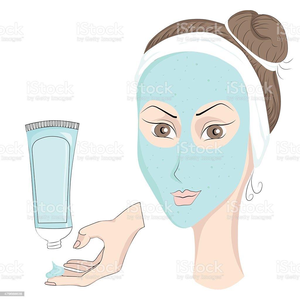 Girl with make up Face mask vector art illustration