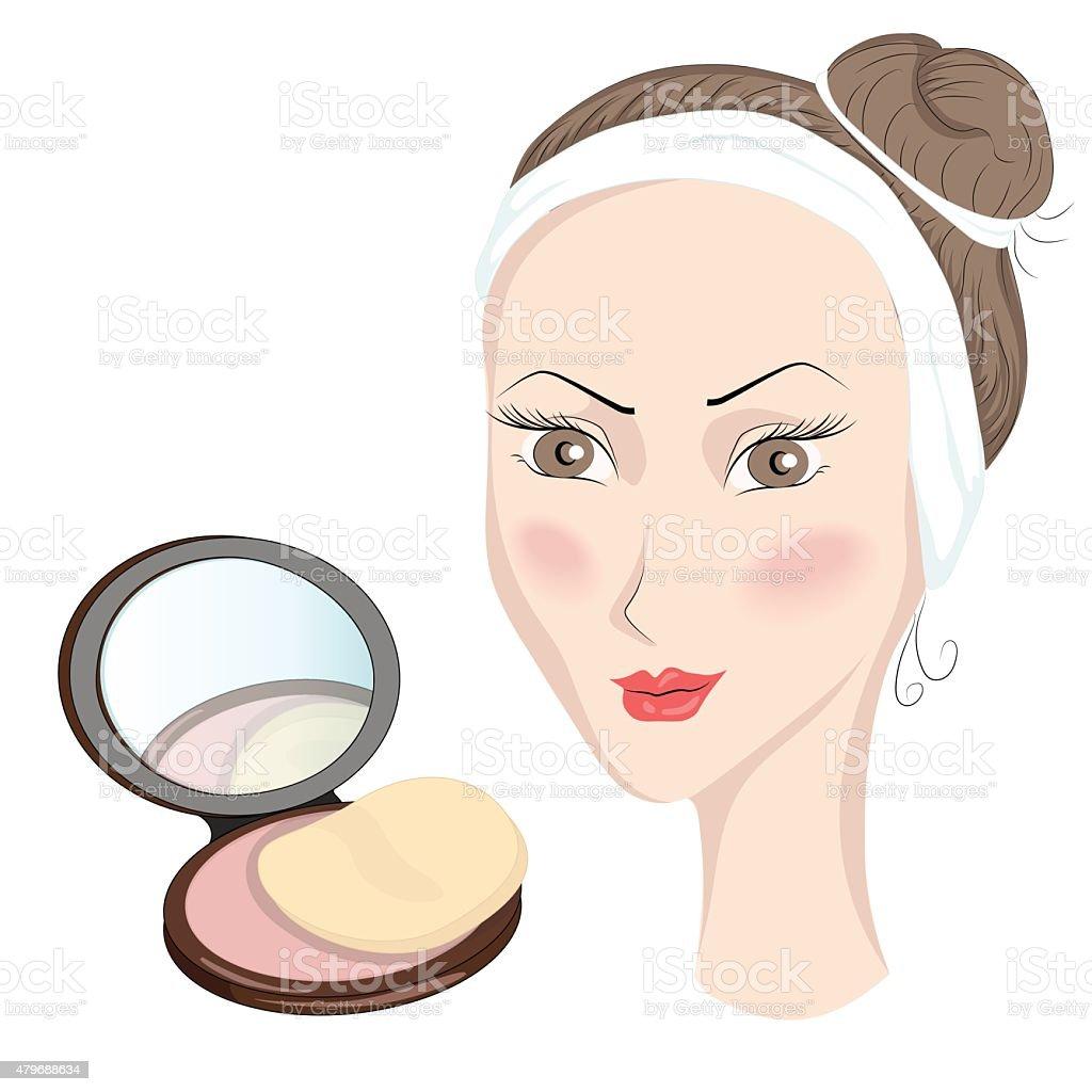 Girl with make up vector art illustration