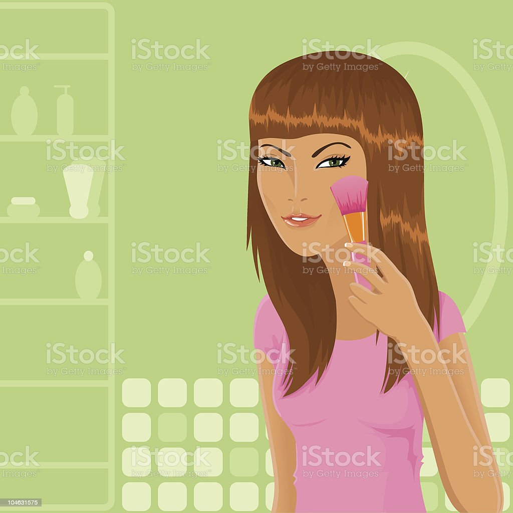 Girl with make-up brush royalty-free stock vector art