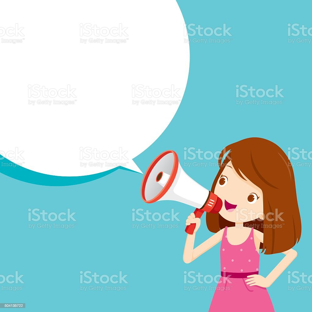 Girl With Megaphone Announcement And Speech Bubble vector art illustration