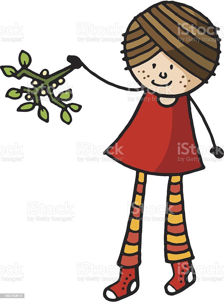Girl with mistletoe royalty-free stock vector art