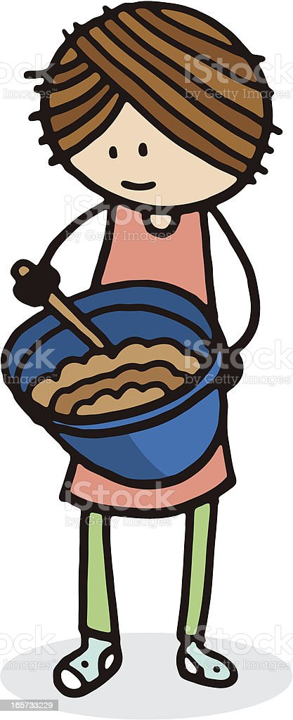 Girl with mixing bowl royalty-free stock vector art