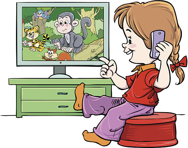 Watch Television Cartoon Clip Art, Vector Images ...