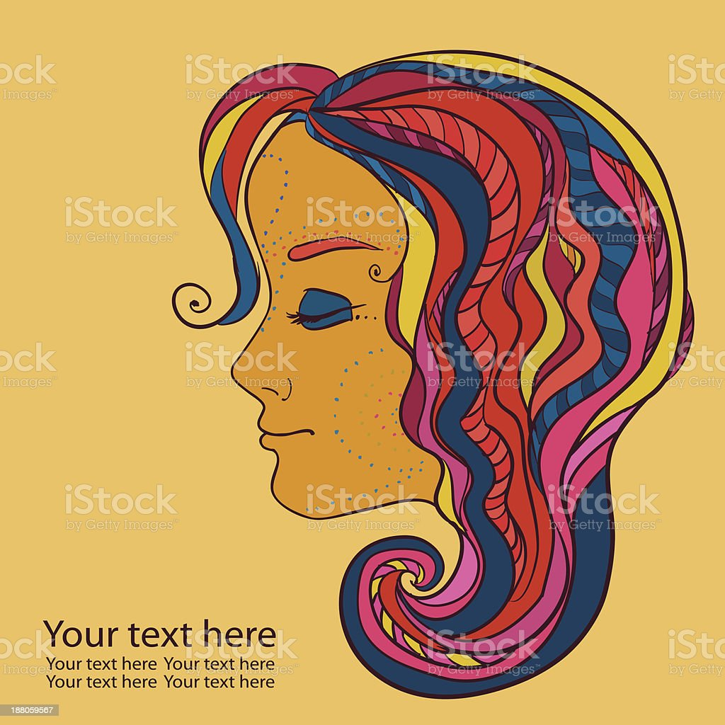 Girl with multycolored hair royalty-free stock vector art