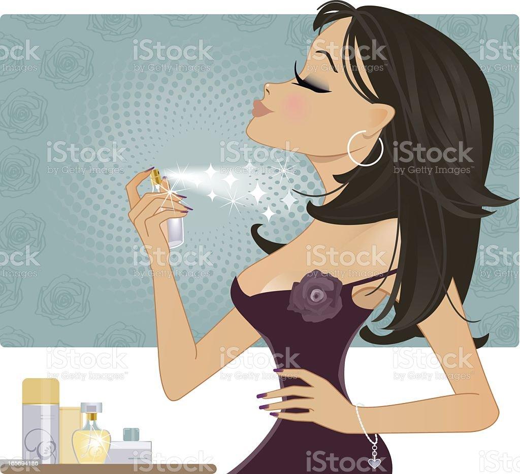 Girl with Perfume vector art illustration