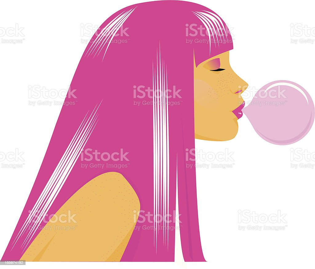 Girl with pink hair royalty-free stock vector art