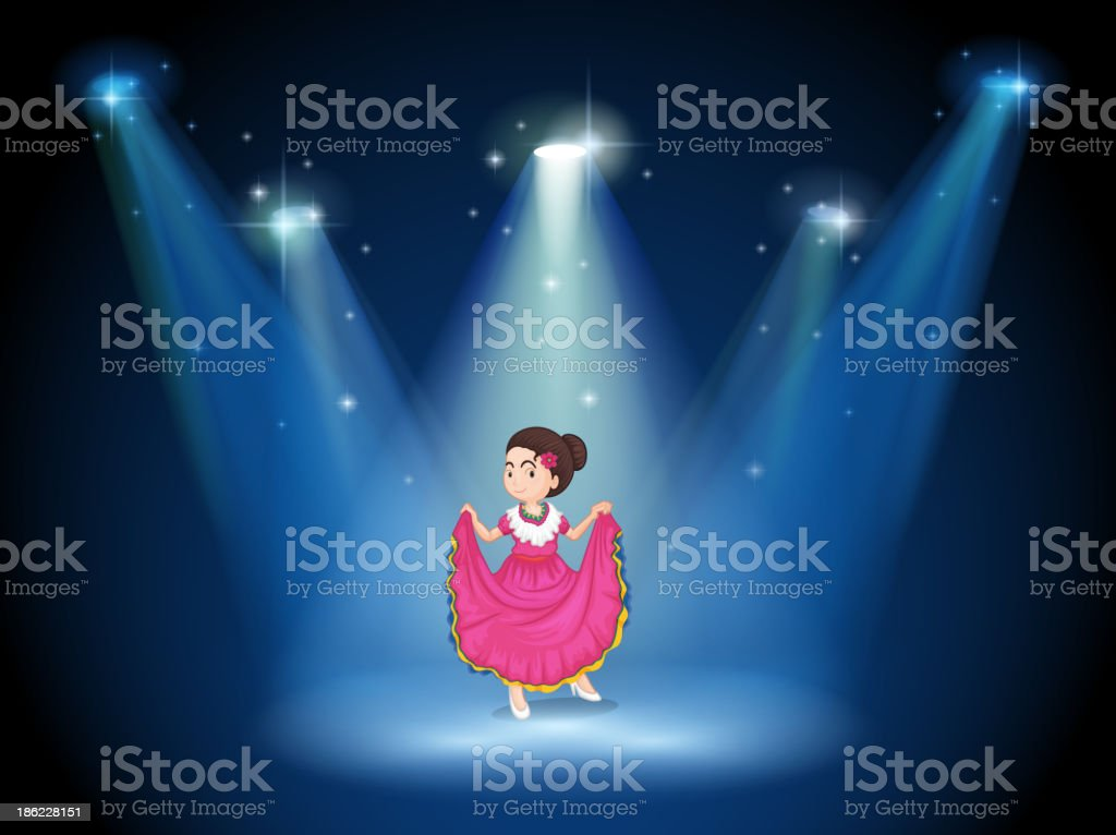 girl with pink long dress standing in middle of stage royalty-free stock vector art