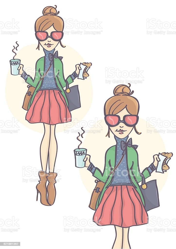 Girl with pink sunglasses having a lunch break vector art illustration