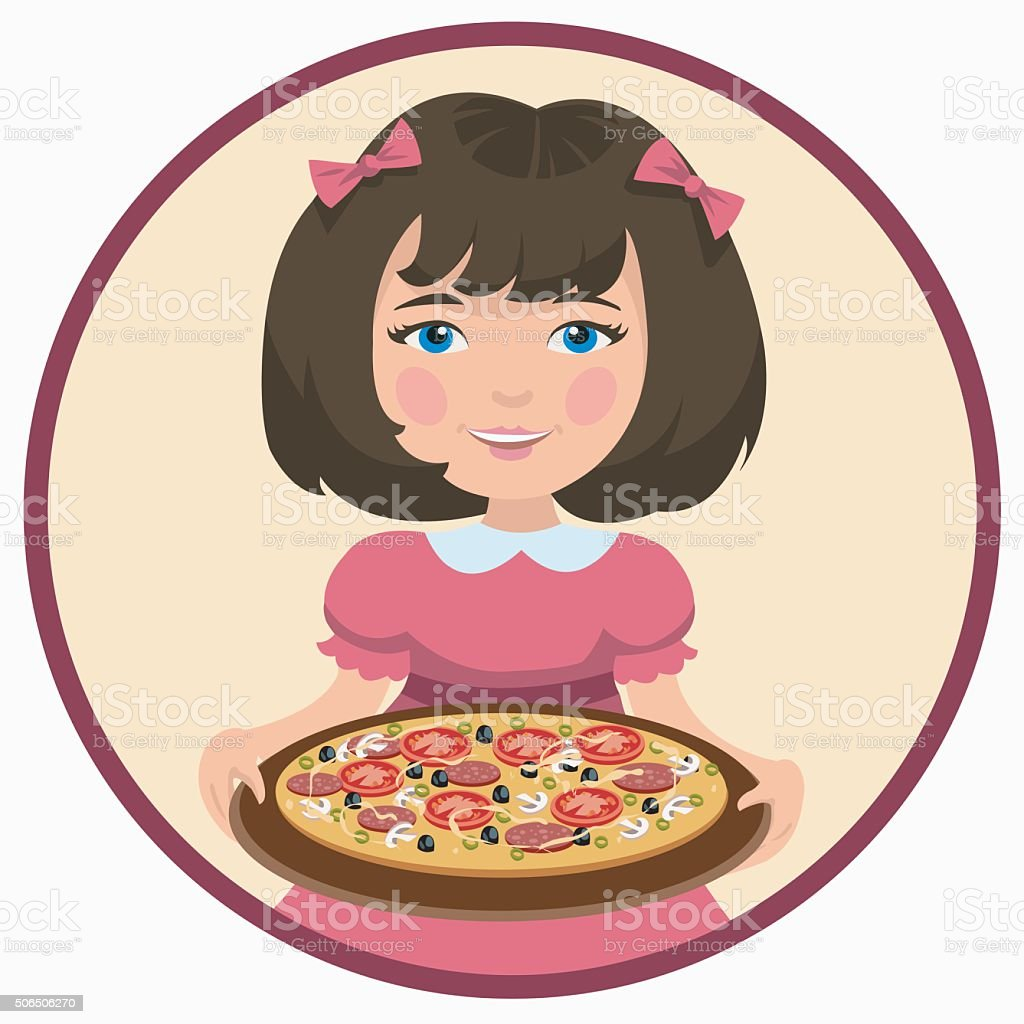 girl with pizza royalty-free stock vector art