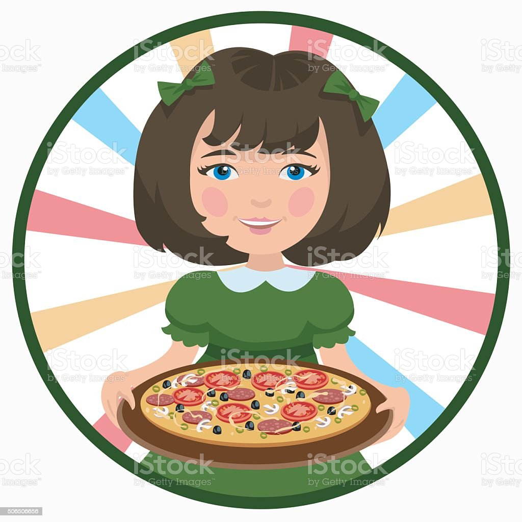 girl with pizza vector art illustration