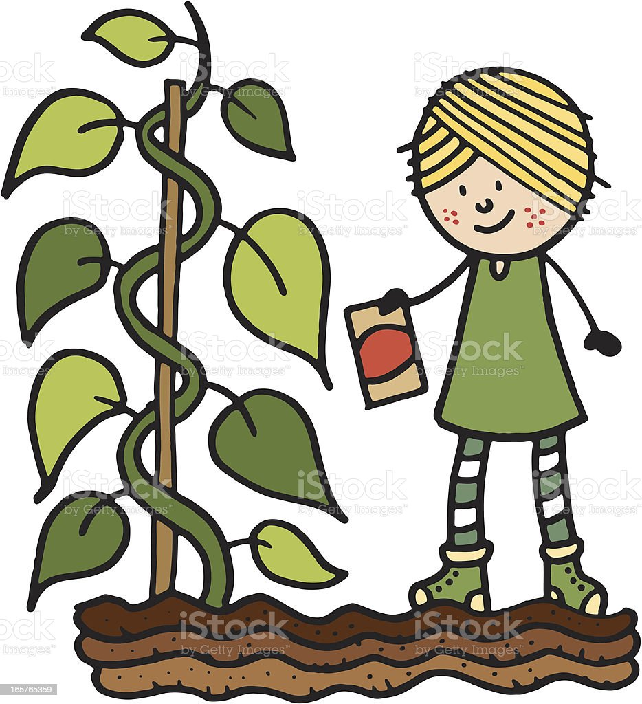 Girl with plant and seed packet vector art illustration
