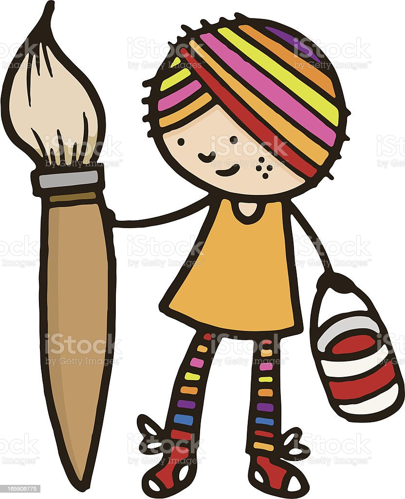 Girl with rainbow coloured hair and large paint brush royalty-free stock vector art