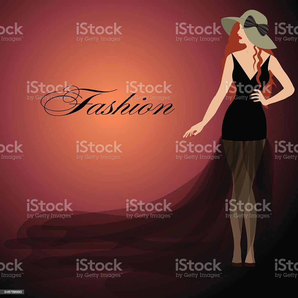 girl with red hair, black dress,  lips. Hat  bow. vector art illustration