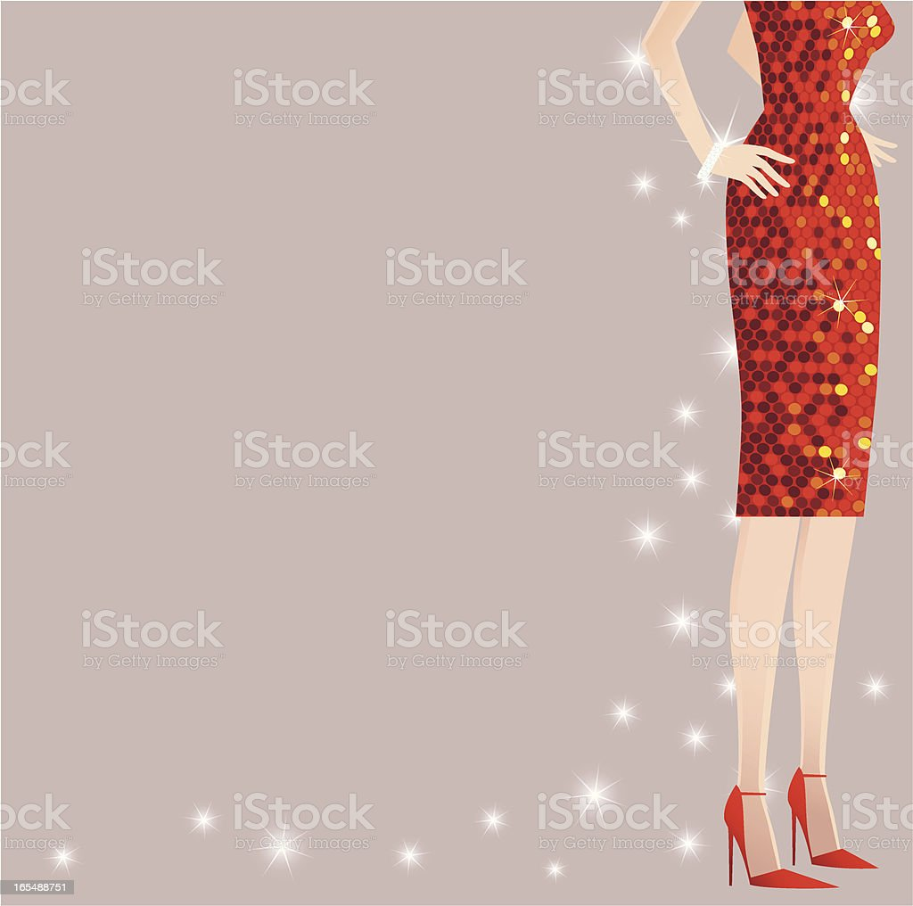 Girl with red sequined dress royalty-free stock vector art