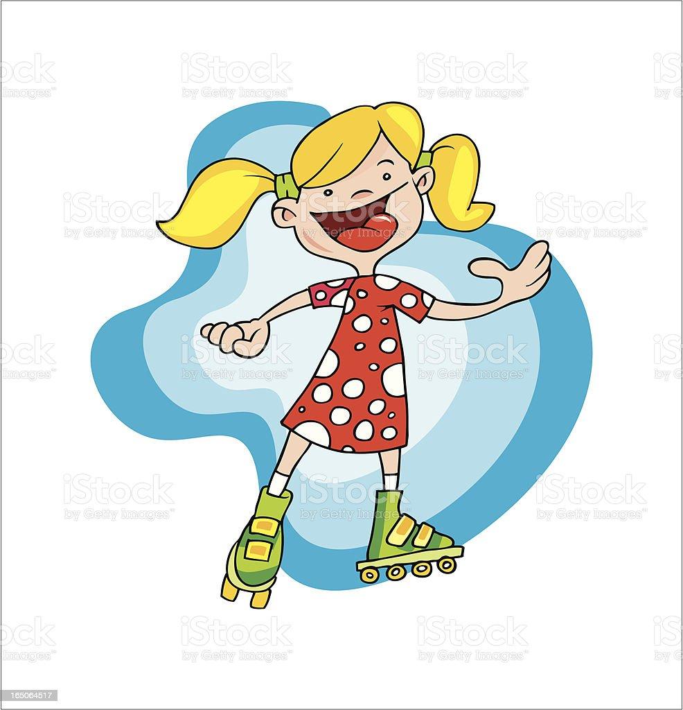 Girl with roller-skates vector art illustration