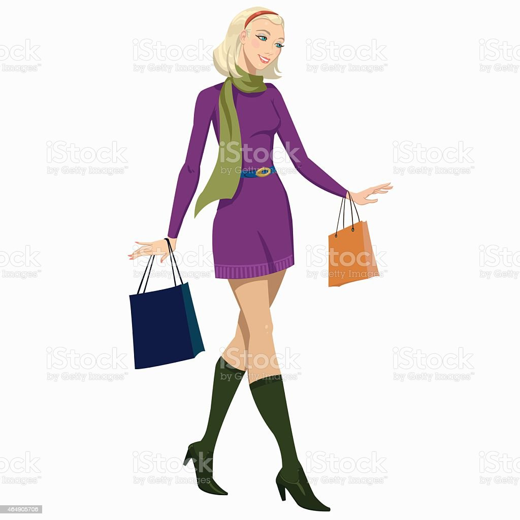 girl with shopping bags royalty-free stock vector art