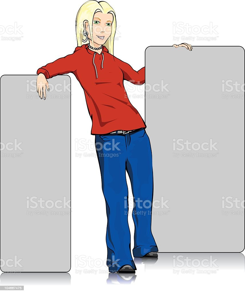 Girl with sign vector art illustration