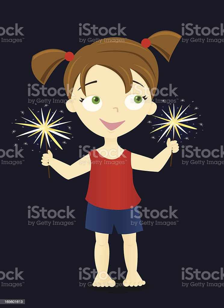 Girl with Sparklers vector art illustration
