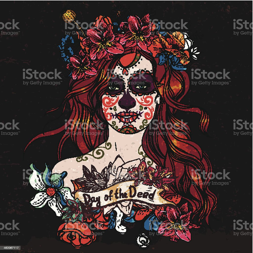 Girl With Sugar Skull, Day of the Dead vector art illustration