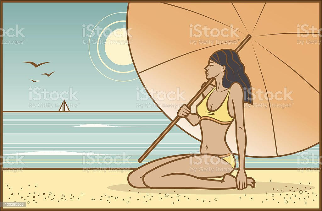 Girl with Sunshade vector art illustration