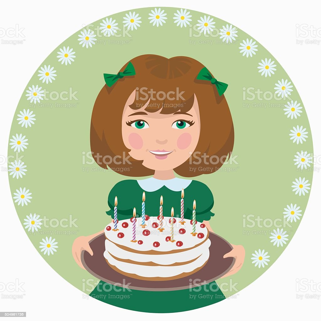 girl with sweet cake royalty-free stock vector art
