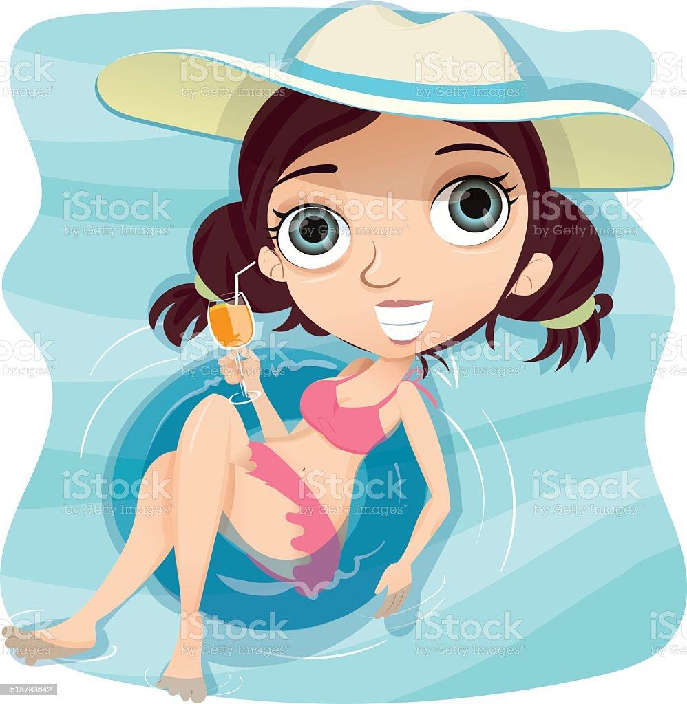 Girl with swim ring in swimming pool. vector art illustration