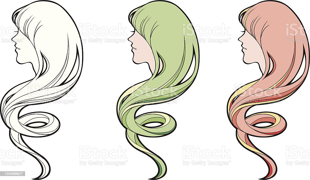 Girl with swirl wave hair royalty-free stock vector art