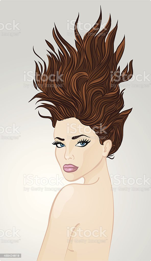 Girl with the hair raised up royalty-free stock vector art