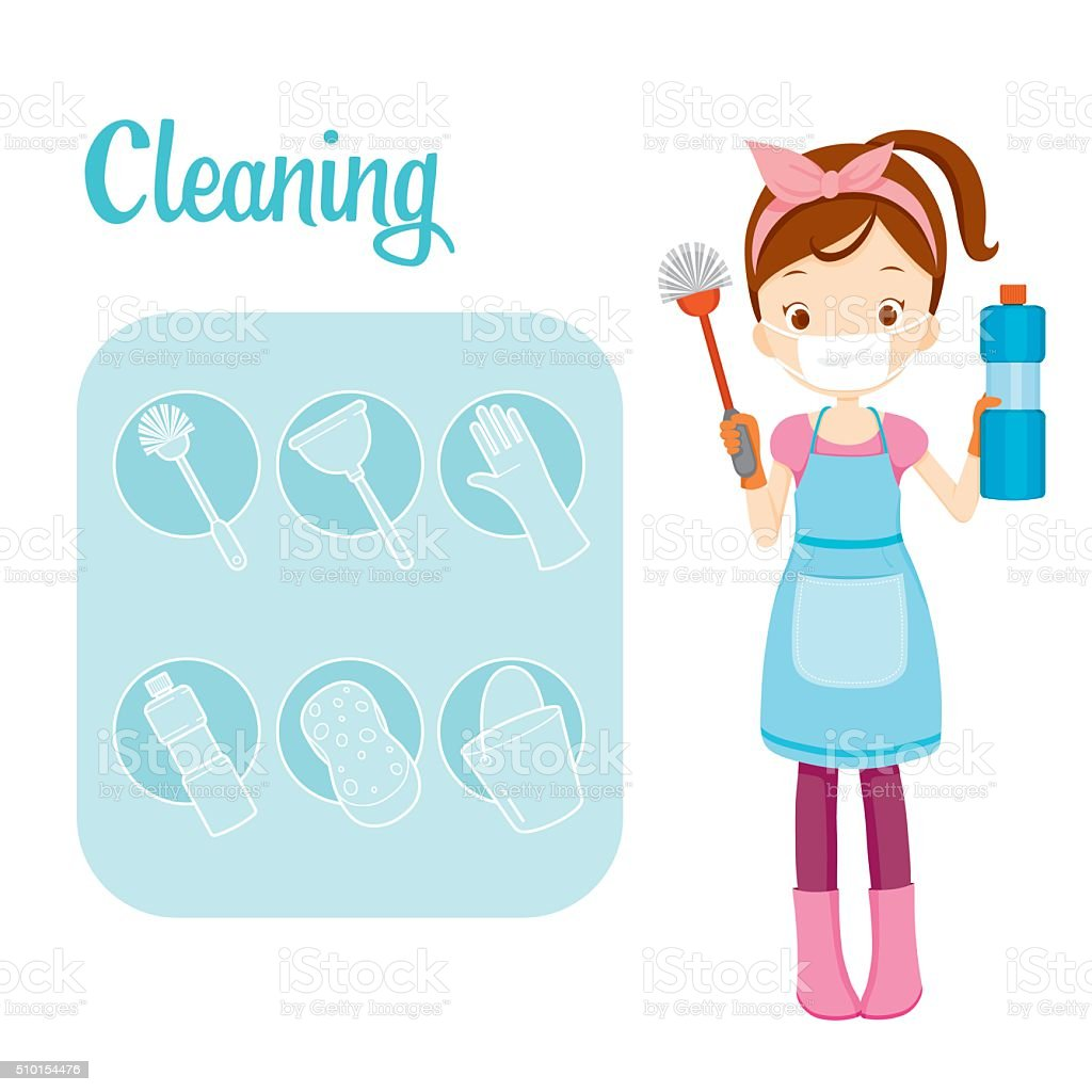 Girl With Toilet Cleaning Equipment And Outline Icons Set vector art illustration