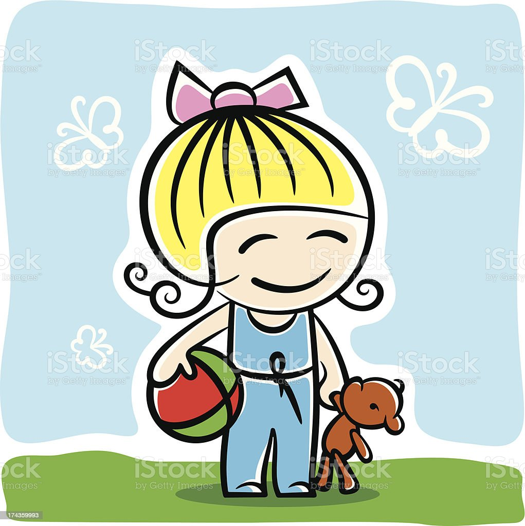 Girl with toys royalty-free stock vector art