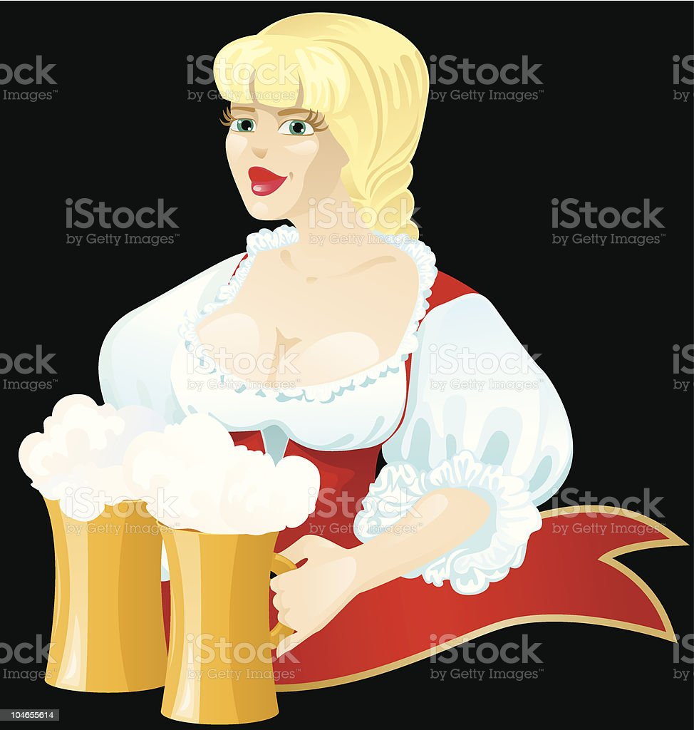 Girl with two mugs of beer royalty-free stock vector art
