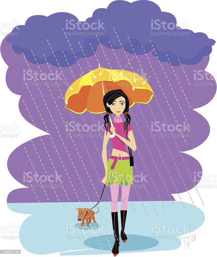 Girl with umbrella royalty-free stock vector art