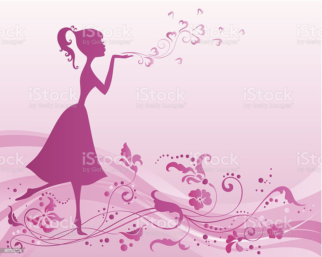 Girl with valentines royalty-free stock vector art