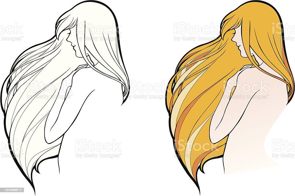 Mädchen mit winken Haar Lizenzfreies vektor illustration