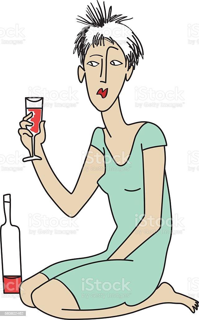 Girl with wine vector art illustration