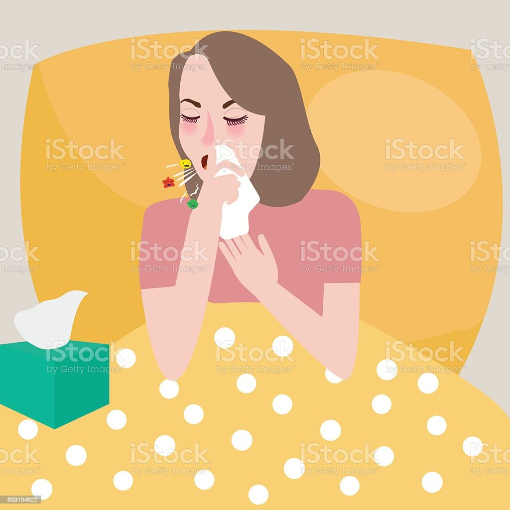 girl woman get flu sneeze bed rest cough spreading virus vector art illustration