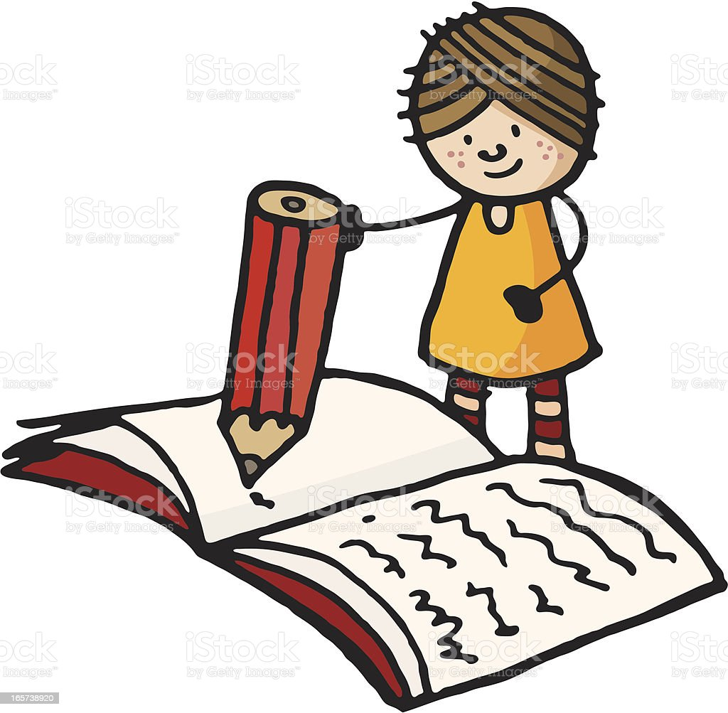 Girl writing on a large book vector art illustration