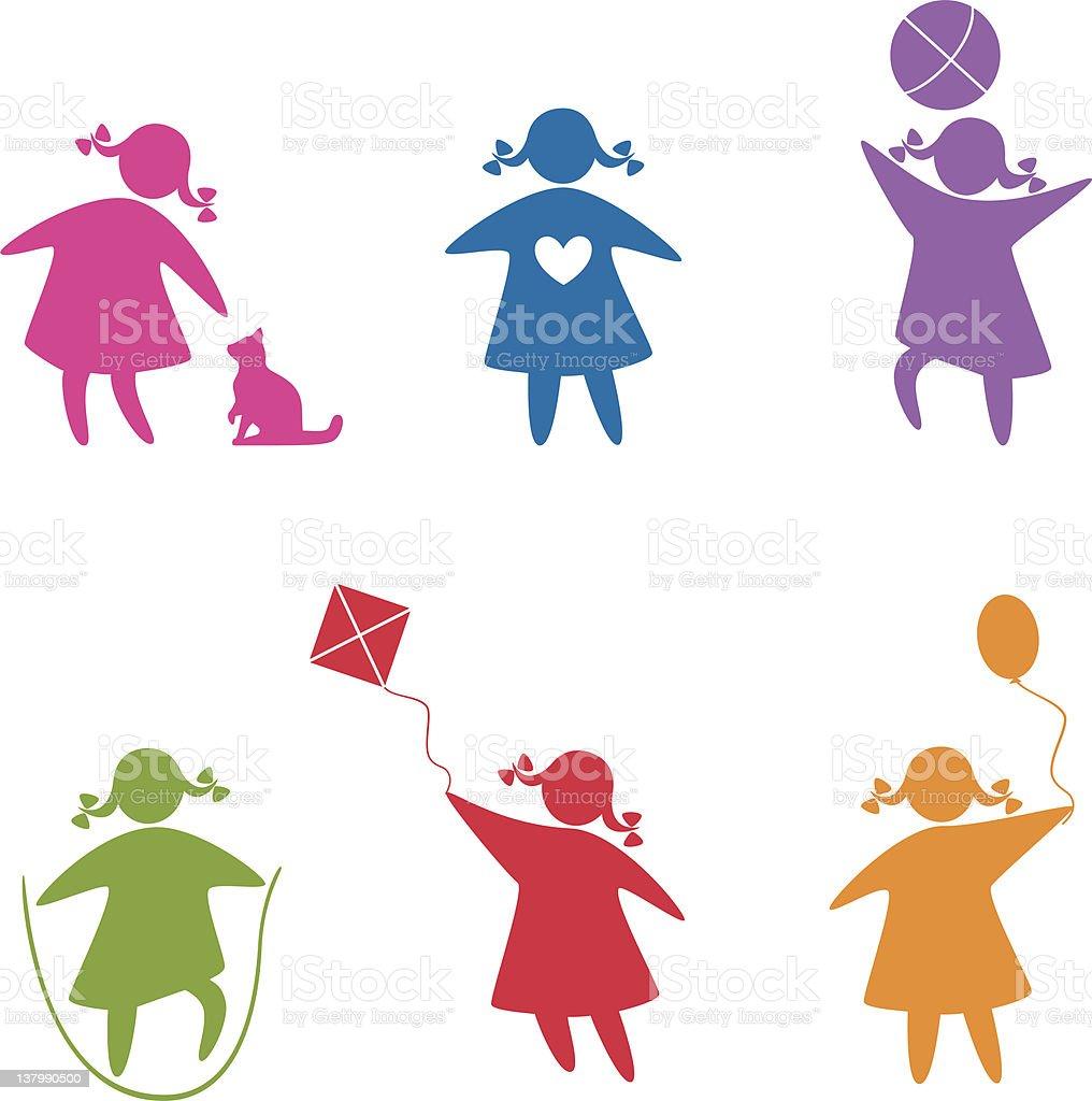 girl_childhood vector art illustration