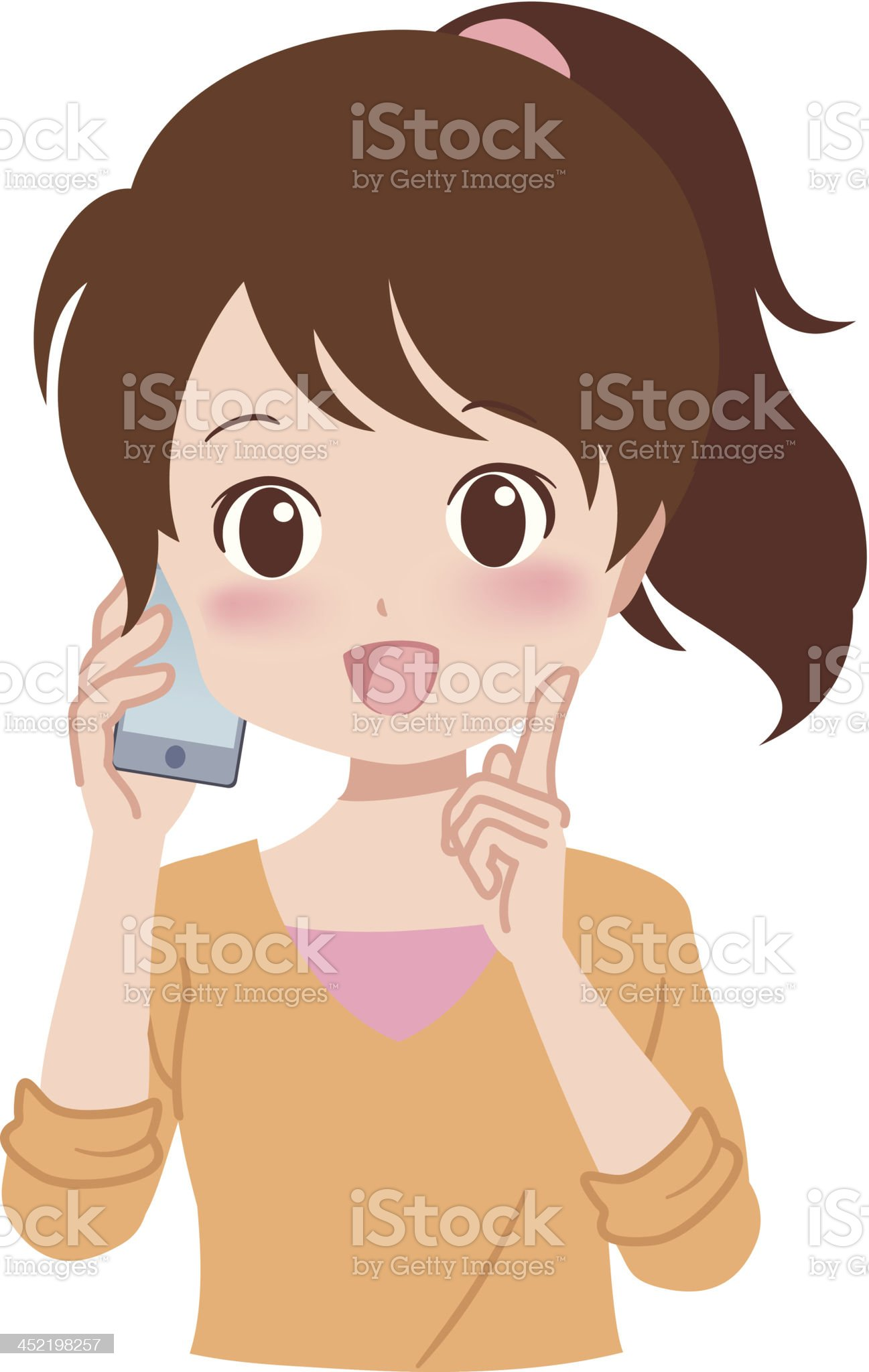girl_phone royalty-free stock vector art
