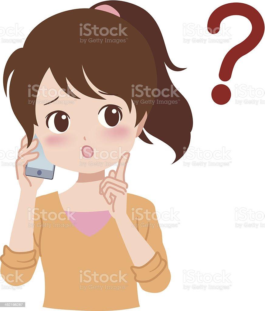 girl_phone royalty-free stock vector art