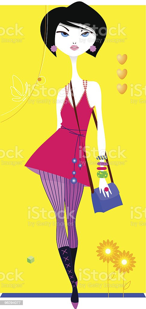 girl_pink vector art illustration