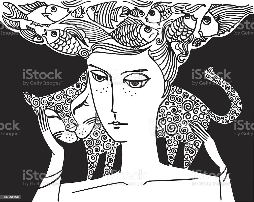 girl_with_cat royalty-free stock vector art