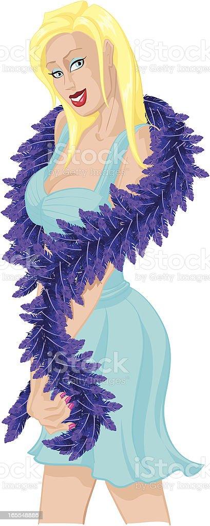 girlFeatherBoa vector art illustration