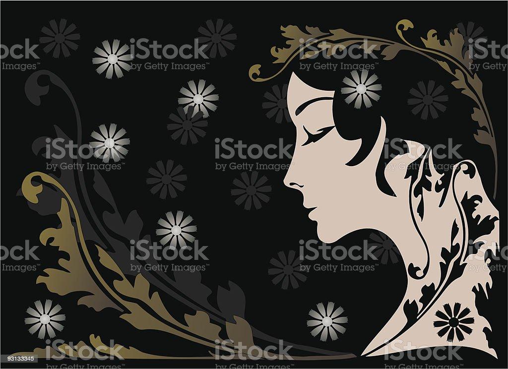 girl&fowers royalty-free stock vector art
