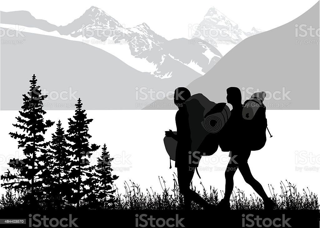 Girlfriends Adventure vector art illustration