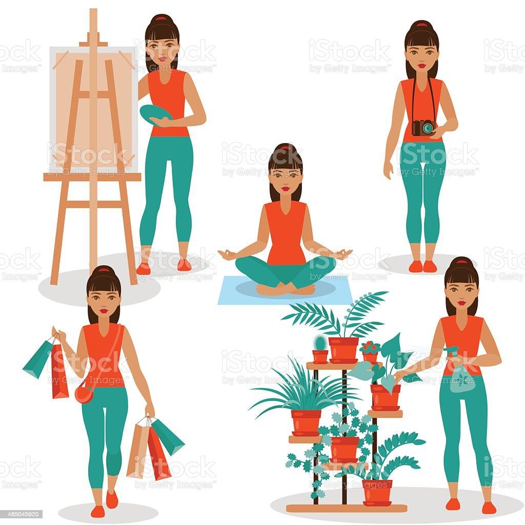 Girlish Hobbies vector art illustration