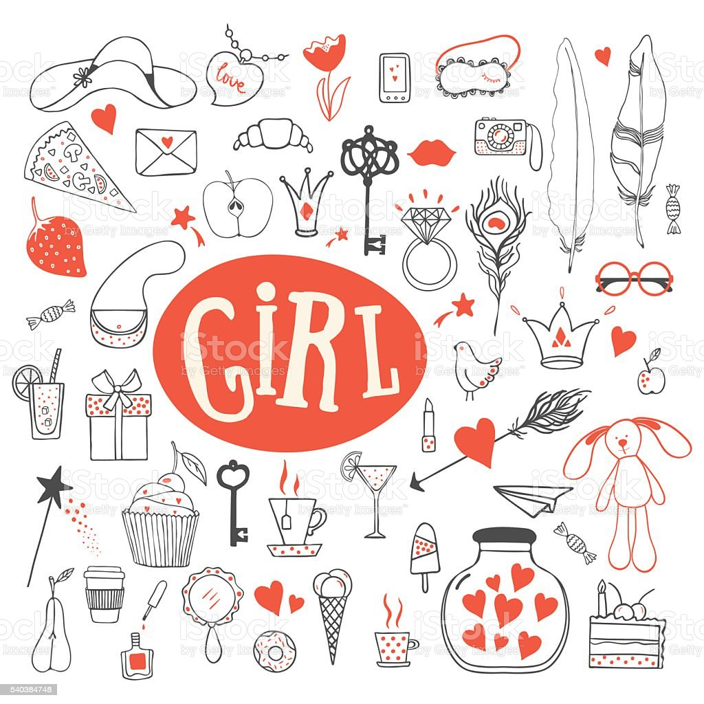 Girl's accessories vector art illustration