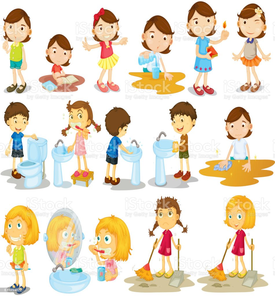 Mädchen Und Jungen Bei Der Hausarbeit Vektor Illustration 531994022 | iStock