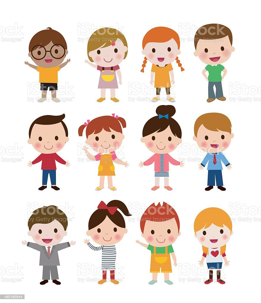 girls and boys vector art illustration